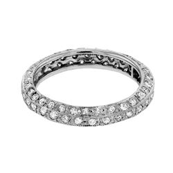 Genuine 14K White Gold 1.25CTW Diamond Wedding Band  - REF-110M4F
