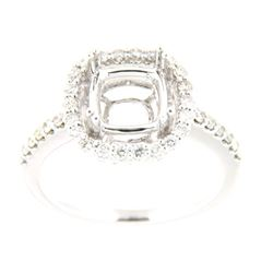 Genuine 14K White Gold 0.43CTW Diamond Semi Mount Ring - REF-62G8M