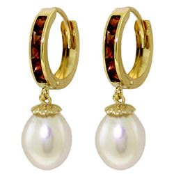 9.3 ctw Garnet & Pearl Earrings Jewelry 14KT Yellow Gold