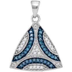 0.33CTW White and Blue Diamond Anniversary 10KT Pendant White Gold