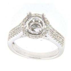 Genuine 14K White Gold 0.68CTW Diamond Semi Mount Ring - REF-85F8N