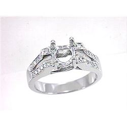 Genuine 18K White Gold 0.26CTW Diamond Semi Mount Ring - REF-92Y6Z