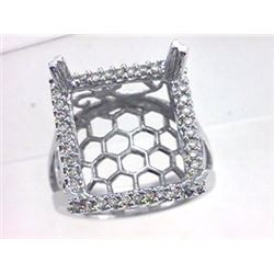 Genuine 14K White Gold 0.4CTW Diamond Semi Mount Ring - REF-81Y8Z