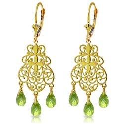 3.75 ctw Peridot Earrings Jewelry 14KT Yellow Gold