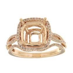 Genuine 14K Yellow Gold 0.49CTW Diamond Semi Mount Ring - REF-84M4F