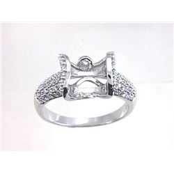 Genuine 18K White Gold 0.49CTW Diamond Semi Mount Ring - REF-93F7N