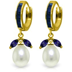 10.30 ctw Sapphire & Pearl Earrings Jewelry 14KT Yellow Gold