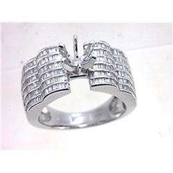 Genuine 18K White Gold 1.38CTW Baguette Semi Mount Ring - REF-258X5Y