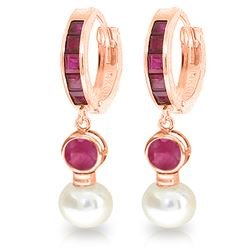 4.65 ctw Ruby & Pearl Earrings Jewelry 14KT Rose Gold