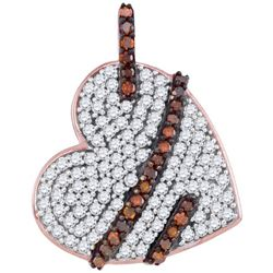0.33CTW White and Champagne Diamond Heart 10KT Pendant Rose Gold