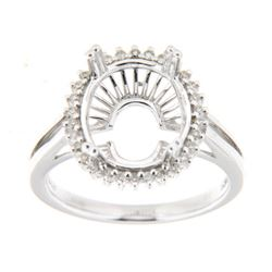 Genuine 14K White Gold 0.2CTW Diamond Semi Mount Ring - REF-49Z7T