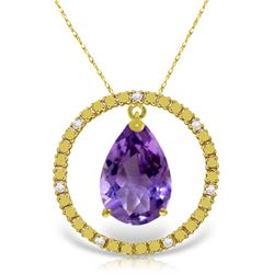 6.6 ctw Amethyst & Diamond Necklace Jewelry 14KT Yellow Gold