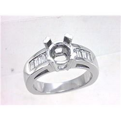 Genuine 14K White Gold 0.6CTW Baguette Semi Mount Ring - REF-124A2X