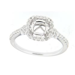 Genuine 14K White Gold 0.41CTW Diamond Semi Mount Ring - REF-48W2G