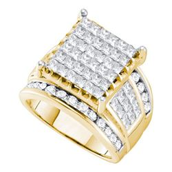 3CT Diamond Invisible 14KT Ring Yellow Gold