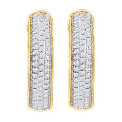 0.50CT Diamond Hoops 10KT Earrings Yellow Gold