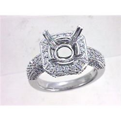 Genuine 18K White Gold 0.85CTW Diamond Semi Mount Ring - REF-167T4K