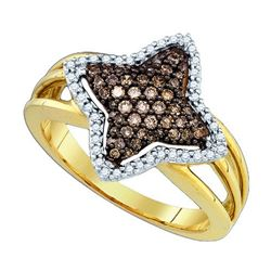 0.35CTW White and Champagne Diamond Anniversary 10KT Ring Yellow Gold