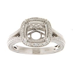 Genuine 14K White Gold 0.24CTW Diamond Semi Mount Ring - REF-59F2N