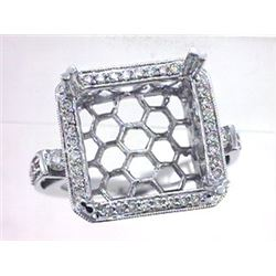 Genuine 14K White Gold 0.58CTW Diamond Semi Mount Ring - REF-83A4X