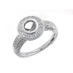 Platinum 0.31CTW Diamond Semi Mount Ring - REF-157F2N