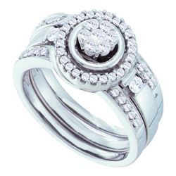 0.50CT Diamond Flower 14KT Ring White Gold