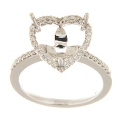 Genuine 14K White Gold 0.37CTW Diamond Semi Mount Ring - REF-62W6G