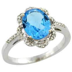 Natural 1.85 ctw Swiss-blue-topaz & Diamond Engagement Ring 10K White Gold - SC-CW904105-REF#29Z3Y
