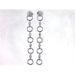 Genuine 14K White Gold 1.06CTW Diamond Earring - REF-85Z4T
