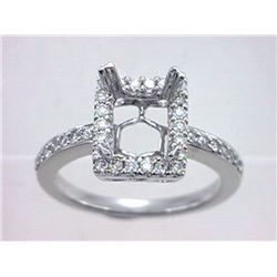 Genuine 14K White Gold 0.47CTW Diamond Semi Mount Ring - REF-61H8W