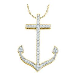 0.15CT Diamond Anchor 10KT Pendant Yellow Gold
