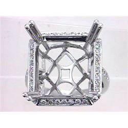 Genuine 14K White Gold 0.73CTW Diamond Semi Mount Ring - REF-92N5A