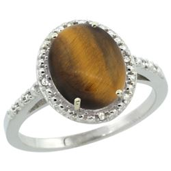 Natural 2.32 ctw Tiger-eye & Diamond Engagement Ring 14K White Gold - SC-CW424111-REF#32W4K