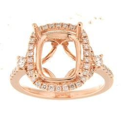 Genuine 14K Rose Gold 0.59CTW Diamond Semi Mount Ring - REF-82W2G
