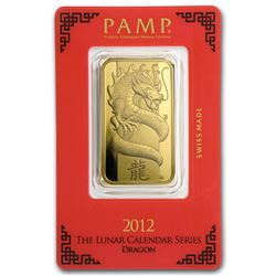 One pc. 1 oz .9999 Fine Gold Bar - PAMP Suisse Year of the Dragon In Assay