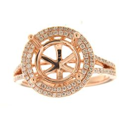 Genuine 14K Rose Gold 0.66CTW Diamond Semi Mount Ring - REF-96T4K