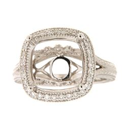 Genuine 14K White Gold 0.34CTW Diamond Semi Mount Ring - REF-72M8F