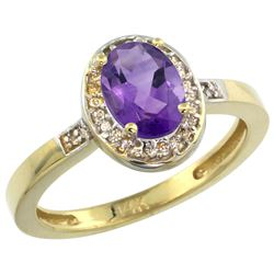 Natural 1.08 ctw Amethyst & Diamond Engagement Ring 10K Yellow Gold - SC-CY901150-REF#25F5N