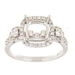 Genuine 14K White Gold 0.6CTW Diamond Semi Mount Ring - REF-79R2H