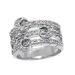 Genuine 18K White Gold 1.1CTW Diamond Rings - REF-182K9R