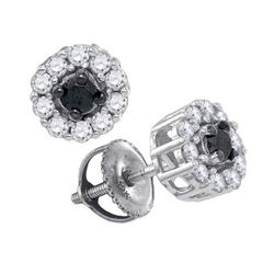 0.50CTW White and Black Diamond Flower 10KT Earrings White Gold