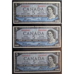 Lot of 3 Devils Face - BC-31a & BC-31b - 5 Dollar Banknotes