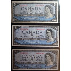 Lot of 3 Devils Face - BC-31b - 5 Dollar Banknotes