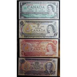 Lot of 4 Canadian Banknotes