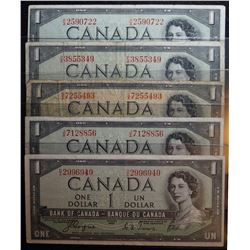 Lot of 5 Devils Face - BC-29a & BC-29b - 1 Dollar Banknotes