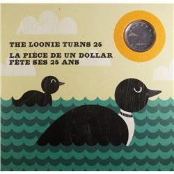2012 - Loonie turns 25 Silver plated Loonie in original presentation folio
