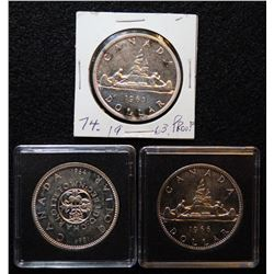Lot of 3 - Canadian Silver Dollars