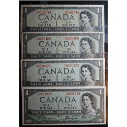 Lot of 4 Devils Face BC-29b - 1 Dollar Banknotes