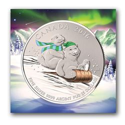 2016 $25 Canada Winter Holiday Fun Sledding Polar Bear and Beaver Silver Proof Coin.