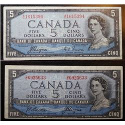 Lot of 2 Devils Face - BC-31a & BC-31b - 5 Dollar Banknotes
